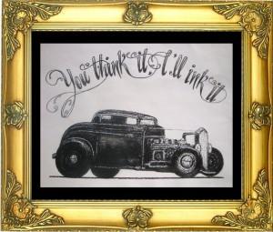 ontwerpen tatoeage old timer voor tattoo shop Inkfish